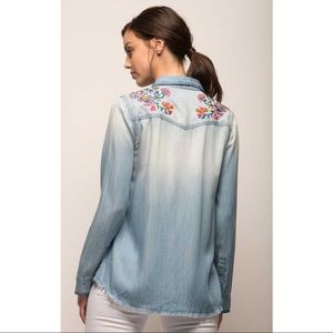 Jach's Girlfriend Embroidered Denim Top Frayed Thick Stitch Distressed New Small